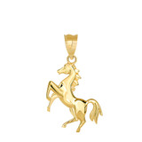 Running Horse Pendant Necklace in Gold (Yellow/ Rose/White)