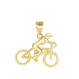 Cyclist Sports Pendant Necklace in Gold (Yellow/ Rose/White)