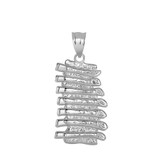 Baby Back Ribs Pendant Necklace in Sterling Silver