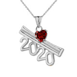 2020 Graduation Diploma Personalized Birthstone CZ Pendant Necklace In Sterling Silver