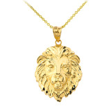 """Lion's Head Medium Pendant Necklace (1.32"""") in Gold (Yellow/ Rose/White)"""