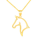 Outlined Stallion Horse Head Pendant Necklace in Gold (Yellow/ Rose/White)