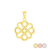Intricate Celtic Knot Pendant Necklace in Gold (Yellow/ Rose/White)