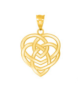 Celtic Motherhood Trinity Knot Pendant Necklace in Gold (Yellow/ Rose/White)