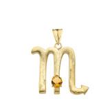 Elegant Satin Finish Scorpio Zodiac Sign November Birthstone Pendant Necklace In Gold