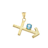 Elegant Satin Finish Sagittarius Zodiac Sign December Birthstone Pendant Necklace