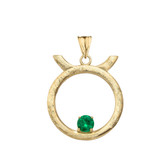 Elegant Satin Finish Taurus Zodiac Sign May Birthstone Pendant Necklace In Gold