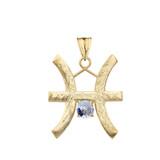 Elegant Satin Finish Pisces Zodiac Sign March Birthstone Pendant Necklace In Gold