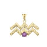 Elegant Satin Finish Aquarius Zodiac Sign February Birthstone Pendant Necklace In Gold