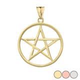 Satin Finish Elegant  Pentagram Pendant Necklace in Gold (Yellow/Rose/White)