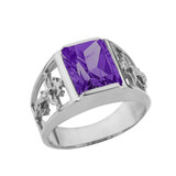 Orthodox Cross Mens Ring With  Personalized  (LC)  Birthstone In 14K White Gold