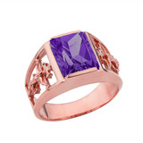 Orthodox Cross Mens Ring With  Personalized  (LC)  Birthstone In 14K Rose Gold