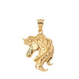 Mythical Unicorn Pendant Necklace in Gold (Yellow/ Rose/White)