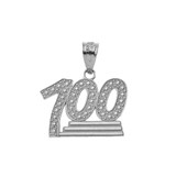 Textured 100 Points Emoji Pendant Necklace in Sterling Silver