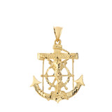 Large Anchor with Jesus Pendant Necklace in Gold (Yellow/ Rose/White)