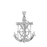 Large Anchor with Jesus Pendant Necklace in Sterling Silver