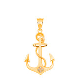Rope Anchor Diamond Pendant Necklace in Gold (Yellow/ Rose/White)