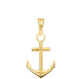 High Polished Sea Anchor Diamond Pendant Necklace in Gold (Yellow/ Rose/White)