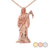 Santa Muerte Grim Reaper Pendant Necklace In Gold (Yellow/Rose/White Gold)