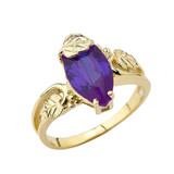Women's Marquise Leaf Ring With  Personalized (LC)Birthstone In 10K Yellow Gold