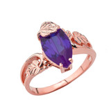 Marquise Leaf Ring With  Personalized (LC)Birthstone In 14K Rose Gold