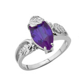 Marquise Leaf Ring With Personalized (LC) Birthstone In 10K White Gold
