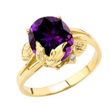 Personalized (LC) Birthstone Oval Floral Ladies Ring In 10K Yellow Gold