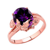 Personalized (LC) Birthstone Oval Floral Ladies Ring In 10K Rose Gold