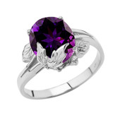 Personalized (LC) Birthstone Oval Floral Ladies Ring In 10K White Gold