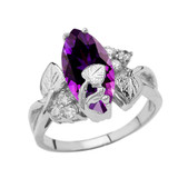 Beautiful Floral Personalized (LC) Birthstone Marquise Ring In 10K White Gold
