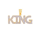King  Hip Hop Textured Pendant Necklace in  Gold (Yellow/Rose/White)