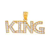 King Hip Hop CZ Pendant Necklace in  Gold (Yellow/Rose/White)