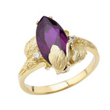 Dainty Personalized (LC) Birthstone Marquise Leaf Ring In 14K Yellow Gold