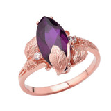 Personalized (LC) Birthstone Marquise Leaf Ring In 14K Rose Gold