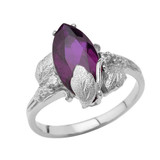 Personalized (LC) Birthstone Marquise Leaf Ring In 14K White Gold