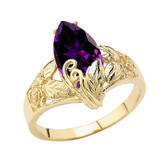 Filigree Floral Personalized (LC) Birthstone Marquise Ring In 14K Yellow Gold