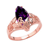 Filigree Floral Personalized (LC) Birthstone Marquise Ring In 14K Rose Gold