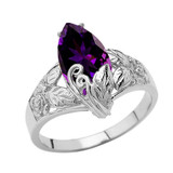 Filigree Floral Personalized (LC) Birthstone Marquise Ring In 14K White Gold