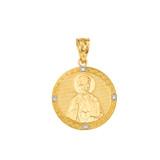 Saint Nicholas Pray for Us  Circle Medallion Diamond Pendant Necklace in Gold (Yellow/ Rose/White)
