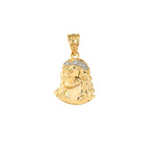 Jesus Christ Head Diamond Pendant Necklace (Small) in Gold (Yellow/ Rose/White)