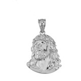 Jesus Christ Head CZ Pendant Necklace (Medium) in Sterling Silver