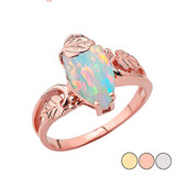Marquise Leaf Ring With Simulated Opal Gemstone In Gold (Yellow/Rose/White)