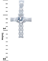 Silver Celtic Cross Pendant with Clear CZ Heart