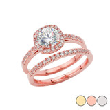 Engagement Set Ring With CZ Center Stone In Gold (Yellow/Rose/White)