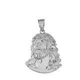 Jesus Christ Head CZ Pendant Necklace (Large) in Sterling Silver