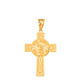 Saint Michael Pray for Us Celtic Cross (Large) Pendant Necklace in Gold (Yellow/ Rose/White)