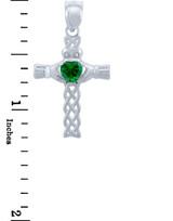 Silver Celtic Cross Pendant with Emerald CZ Heart