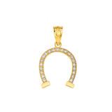 Lucky Diamond Horseshoe Pendant Necklace in Gold (Yellow/ Rose/White)