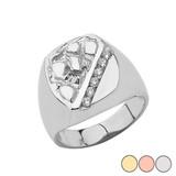 Gold Men's Diamond Nugget Ring in (Yellow/Rose/White)