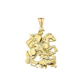 Saint George Pendant Necklace In Gold (Yellow/Rose/White)